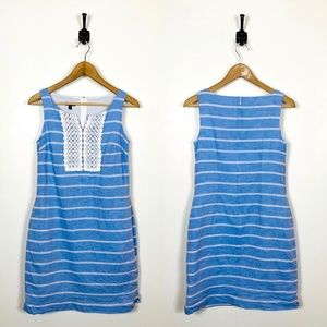 Talbots 2P Striped Shift Dress Embroidered Linen